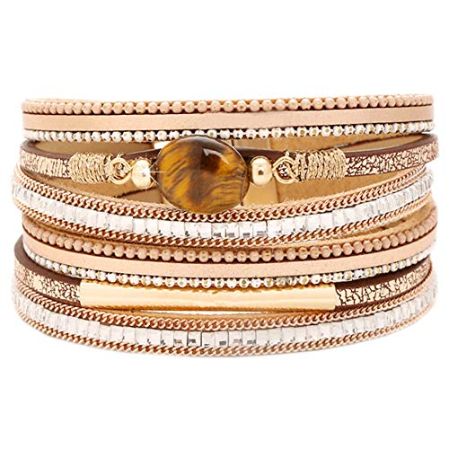 - Tiger Eye Leather Boho Wrap Stacking Bracelets,Cuff Bohemian Wrap Multilayer Wide Crystal Metal Around Gold Wrist Magnetic Clasp Buckle Casual Bangle Bracelets for Teen Girls Women Boy Gift(C-Tiger)