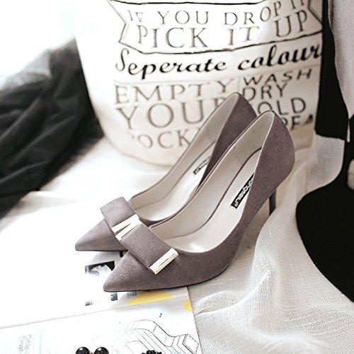 The tip of the Korean version of the high-heel shoes pointed high-heeled shoes fine with matt for the Women's singles shoes, gray 35 by YLSZ-High heels (Image #3)
