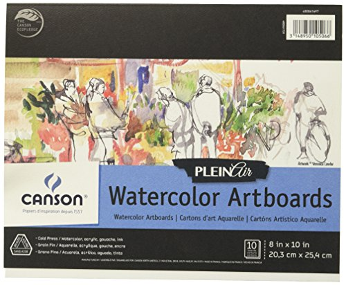 Canson Plein Air Watercolor Art Board Pad for Watercolor, Ink, Gouache and Acrylic, 8 x 10 Inch, Set of 10 Boards