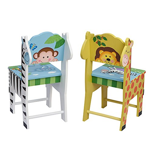 "Fantasy Fields TD-0049A2 Sunny Safari Kids Hand Crafted & Hand Painted Wooden Chairs, 13"" x 11.5"" x 26.75"", Yellow and Green"
