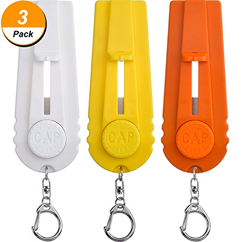 TOODOO 3 Pieces Cap Zappa Cap Shooters Launchers Beer Bottle Opener with Keychain, Orange, Yellow and White by TOODOO
