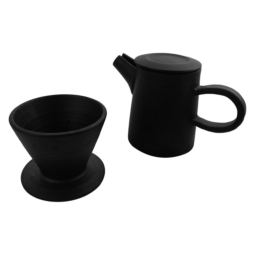 ZANTAN Handmade Ceramic Coffee Dripper and Pot Set, Far Infrared Radiation and Negative Ions, Reduce Bitter Taste, Pour Over Coffee Maker, 11.6 Ounce by ZANTAN (Image #4)
