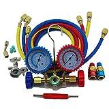 R134a R22 Hvac Car Ac Refrigeration Manifold Testers Pressure Gauge Hose Couplers Set