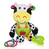 NUOLUX Stroller Car Seat Toy Kids Baby Bed Crib Cot Pram Hanging Musical Toy Pendant (Cow)