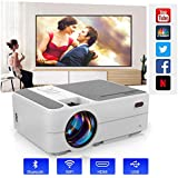WIKISH Portable Projector with Bluetooth Wifi for Outdoor Movie,Smart Android Projector Support Airplay HDMI USB Zoom for DVD Player TV Box Laptop