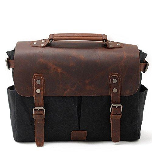 Nongniml Messenger Bag Man Bag Casual Shoulder Bags Oil Canvas Crossbody Bag Waterproof Canvas Camera Bag Vintage Camping Holiday Shopping Outdoors, Black Green