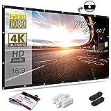 Mdbebbron pantalla de proyección de 120 pulgadas 16: 9 HD plegable antiarrugas proyector portátil pantalla de películas para cine en casa al aire libre soporte para interiores proyección de doble cara