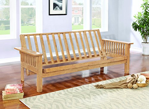 Coaster Casual Weathered Oak Futon Frame with Slat Side Detail