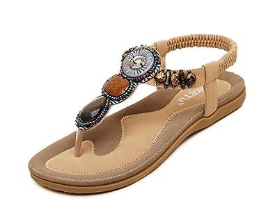 ced390cfa9eb5 SFNLD Women s Casual Flat Bohemian Beach Thong Sandals Apricot 4 B(M) US