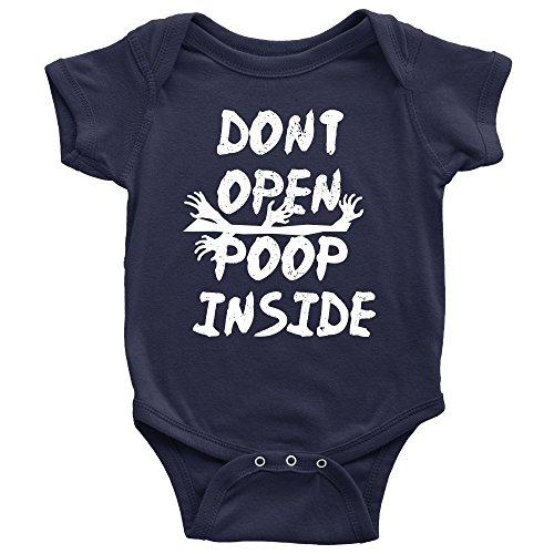 Don't Open Poop Inside Onesie Funny Zombie Apocalypse Baby Bodysuit (6M, Navy) (Clothes Zombie Baby)