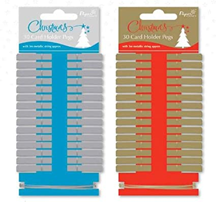 24 x pegs Christmas Card  PegHolder Decoration Mini  Silver Pegs silver string