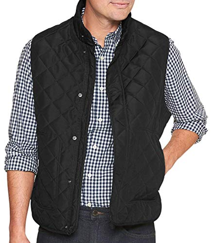 - Banana Republic Mens Water-Resistant Diamond Quilted Layering Vest Black (XX-Large)