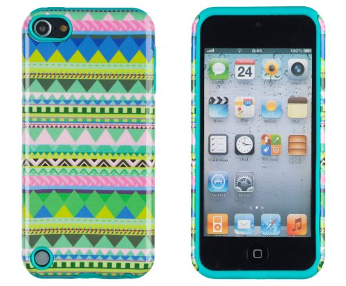 DandyCase 2in1 Hybrid High Impact Hard Mint Green & Pink Aztec Tribal Pattern + Teal Silicone Case Cover For Apple iPod Touch 5 (5th generation) + DandyCase Screen Cleaner