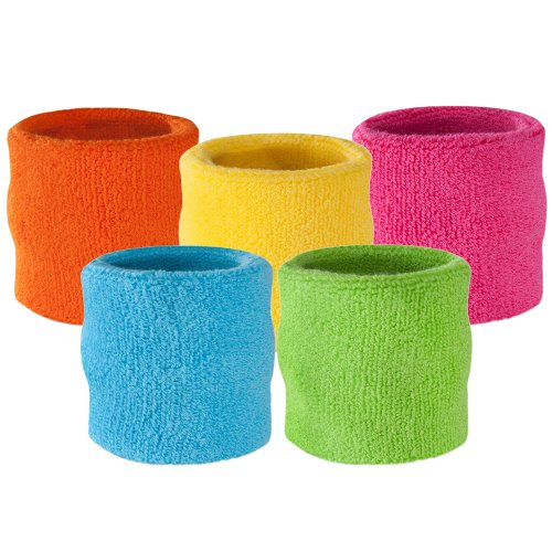 Suddora Wrist Sweatband Also Available in Neon Colors - Athletic Cotton Terry Cloth Wristband for Sports (Neon Orange)(1 (80s Clothing For Men)
