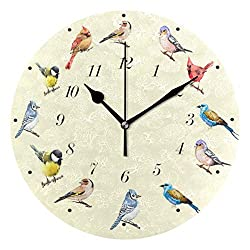 Wamika Cute Birds Cartoon Animal Wall Clock Battery Operated Non Ticking Silent Round Acrylic Cardinal Hummingbird Bird Quartz Decorative Clocks for Home Office Kitchen School Easy to Read