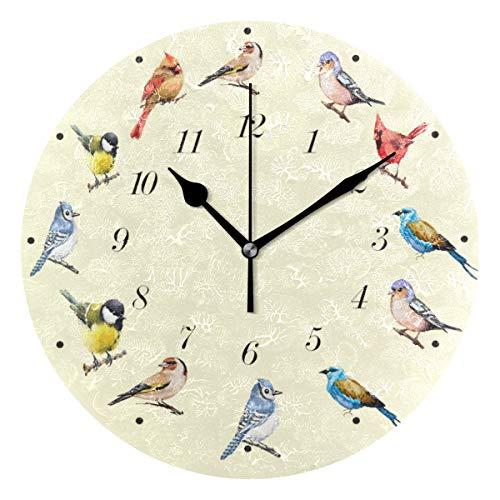 Wamika Cute Birds Cartoon Animal Wall Clock Battery Operated Non Ticking Silent Round Acrylic Cardinal Hummingbird Bird Quartz Decorative Clocks for Home Office Kitchen School Easy to Read (Bird Chime Clock)