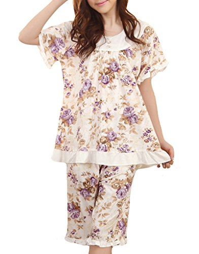 MyFav Big Girl Floral Printed Rose Pajama Sets Korean Fashion Shorts Sleepwear Satin Girls Pajamas