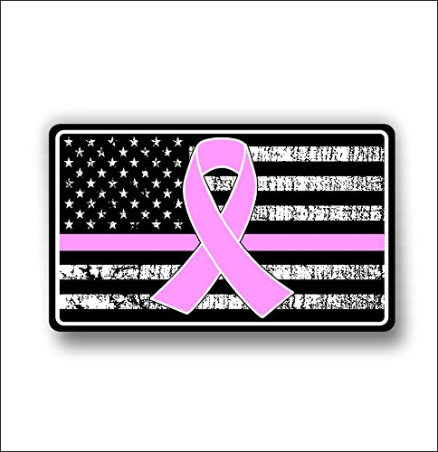 Cancer support american flag sticker / decal **Free (Breast Cancer Sticker)
