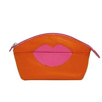 eb6c2e6fbd1a Amazon.com   ili New York Hot Lips Leather Cosmetic Makeup Case (Orange Hot  Pink)   Beauty