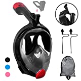 SLB Snorkel Mask, 2.0 Foldable Anti-fog Snorkeling Mask Full Face with Free Breathing Design, 180°Panoramic View Scuba Diving Mask with Detachable Camera Mount for Adults & Kids - 2018 Newest Version