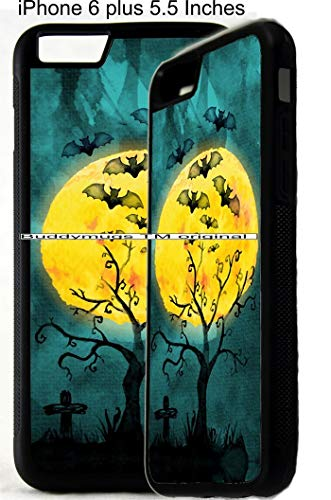 (Halloween bats Water Color Design Spooky Scary Personalized Monogram Customized Rubber Phone Case Cover is compatible with Apple iPhone 4 5 6 6 plus)