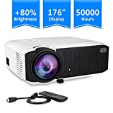 Projector, Turewell Mini Projector, 2000 Lumens Portable LED Projector Support 1080P HDMI USB VGA AV, Multimedia Theater LCD Video Projector for Home Cinema, TV, Laptop, iPhone & Android Smartphone