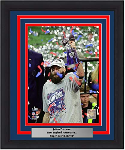 "Patriots Julian Edelman Super Bowl LIII MVP Trophy 8"" x 10"" Framed and Matted Football Photo"