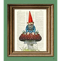 Old Garden Gnome Chilling On a Toadstool Illustration Beautifully Upcycled Dictionary Page Book Art Print