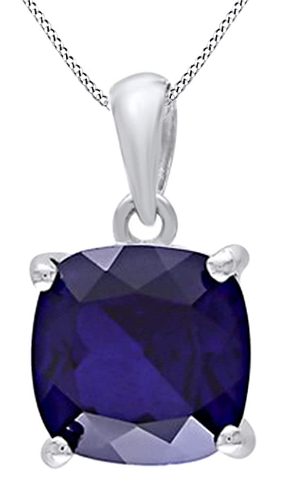 AFFY Cushion Cut Simulated Blue Sapphire Solitaire Pendant Necklace in 14K Gold Over Sterling Silver
