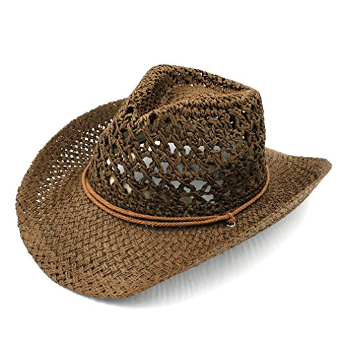 Elee Unisex Hollow Straw Western Cowboy Hat Wide Brim Cowgirl Summer Sun Cap (Dark Brown)