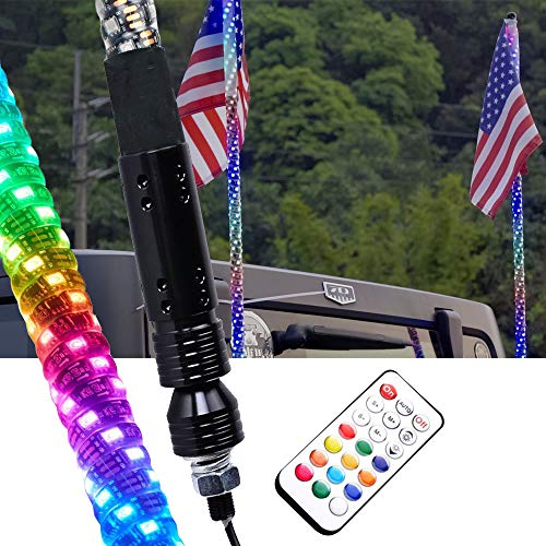 HILLSKING 3ft Dancing/Chasing LED Whip Light w/Flag Dream color RF Remote Controlled Lighted Antenna Whip for Offroad Jeep Can-am Sand Dune Buggy UTV ATV Truck(One Whip) (Best Atv For Sand Dunes)