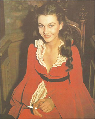 001 Gone with the Wind Vivien Leigh smiling with cigarette 8x10 inch Photo - 004