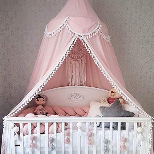 TYUE Bed Canopy Round Dome, Kid Chiffon Mosquito Net, Bed Canopy for Children Reading Room, Bedroom Decoration Cotton Baby Bed Decoration (High 240cm),Pink