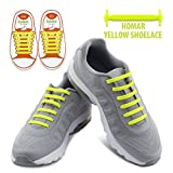 Homar Kids Shoelaces For Sneakers - Best In Sports Fan Shoelaces - Rubber Waterproof No Tie Flat Shoe Laces Perfect For Sneaker Boots Oxford Running Shoes - Yellow | amazon.com