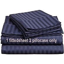 "Egyptian Cotton Three Quarter 48X75"" Fitted Sheet & Pillowcase 8"" Deep Pocket 600 Thread Count Navy Blue Stripe"