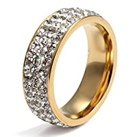VNOX Anillo de eternidad de acero inoxidable para mujer CZ Circonio de circonio cúbico redondo, chapado en oro, ancho de 7 mm, tamaño 9