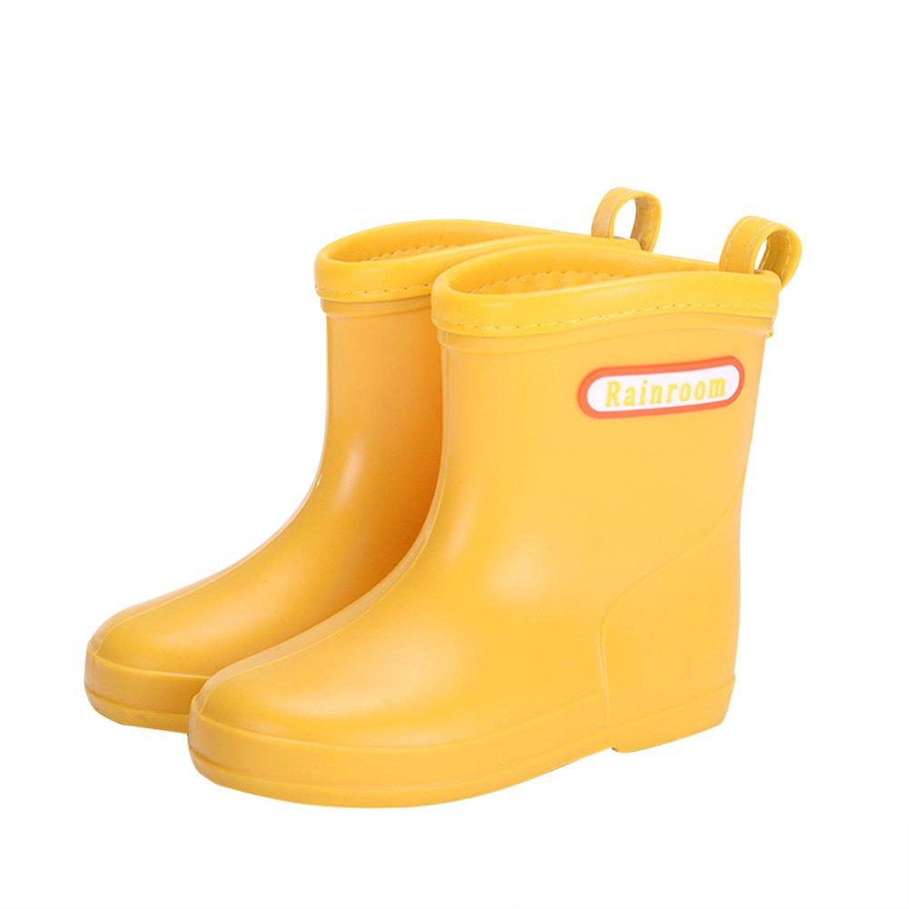 Chiximaxu Waterproof Solid Fashion Rubber Rain Boots for Boys Girls,Yellow Toddler Size 7