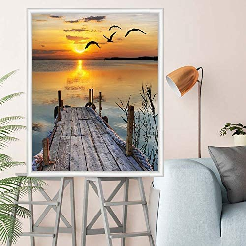 Diamond Painting Kit 16x12 Inch, Sunset by The Sea DIY 5D Diamond Painting Kits for Adults, Diamond Painting by Numbers for Adults, Paint with Diamonds for Home Wall Decor Gift Arts Craft (B)