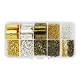 """LolliBeads (TM) 20mm(3/4"""") Assorted Size Silver Gold Antiqued Brass Bronze Ribbon Leather Cord Bookmark End Bracelet Pinch Crimps Kit Lobster Clasps Chain Extenders Pack Alloy Drop End (510 Pcs)"""