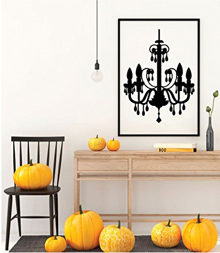 Halloween Chandelier Silhouette (Chandelier Vinyl Wall Decal - Home Decor Silhouette - Decoration for Halloween Party, Haunted House or)