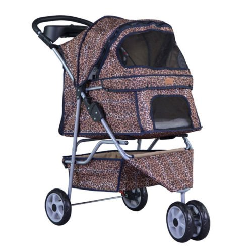 NEW Extra Wide Leopard Skin 3 Wheels Pet Dog Cat Stroller With RainCover by BestPet (Image #1)