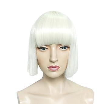 GAIHU Bob corta peluca recta con Bang pelucas blanca fibra de alta temperatura para las mujeres
