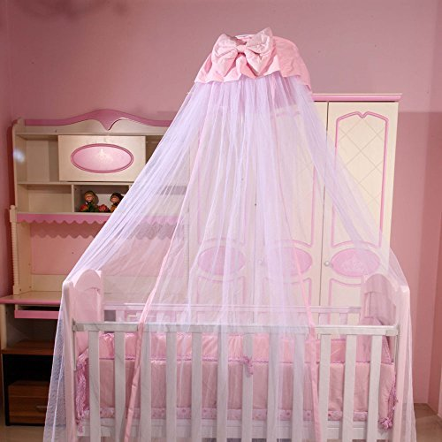 RuiHome Dome Style Hanging Baby Mosquito Net Princess Girls Bed Canopy with Pink Bowknot Decor, Netting with Bracket by RuiHome