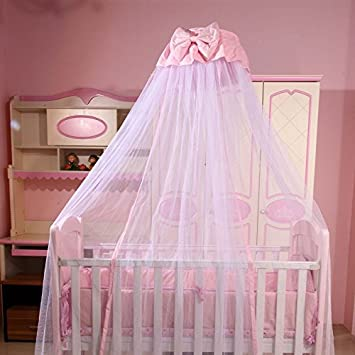 RuiHome Dome Style Hanging Baby Mosquito Net Princess Girls Bed Canopy with Pink Bowknot Decor Netting with Bracket