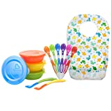 Munchkin Love-A-Bowls Set with Soft-Tip Infant Spoon, 6 Count and a BONUS Disposable Bibs