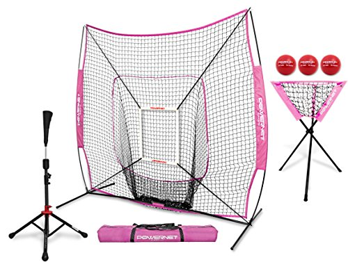 PowerNet 7x7 DLX Practice Net + Deluxe Tee + Ball Caddy + 3 Pack Weighted Ball + Strike Zone Bundle (Pink) | Baseball Softball Coach Pack | Pitching Batting Training Equipment Set | 7