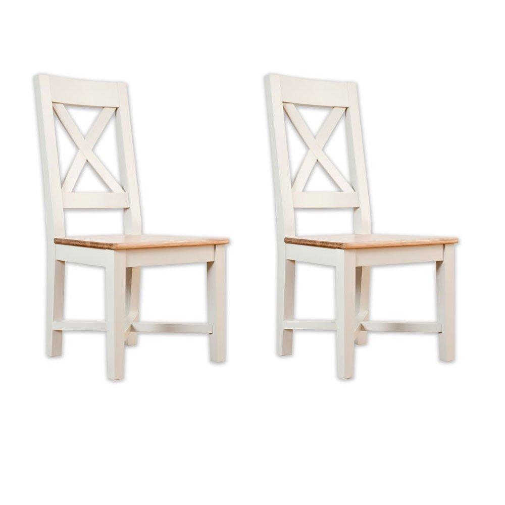 Gestrichene Möbel Avana Eiche 2 Stühle Esstisch cross back