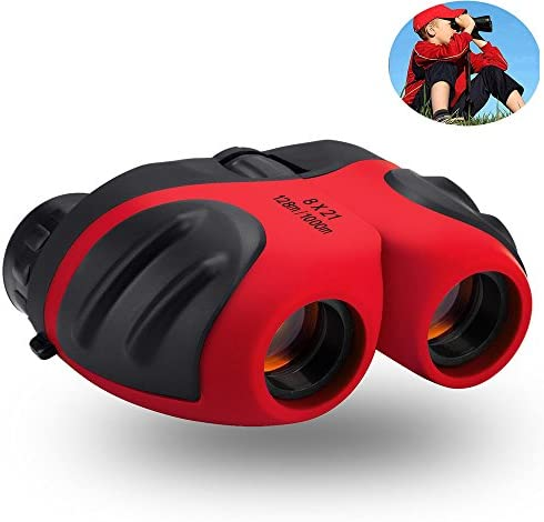 Best Gifts for Teen Girl, Compact Waterproof Shock Proof Binocular for Kids Toys for 3-12 Year Old Girls to Watching Wildlife or Outdoor Play Red