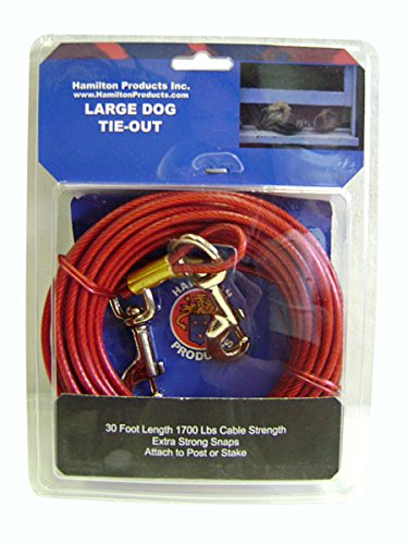 Hamilton 30-Foot Dog Tie Out Plastic Coated Cable, Large