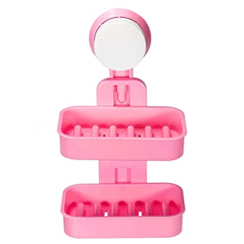 Hojo Double Layer Soap Box Suction Cup Holder Rack Bathroom Shower Soap Dish Hanging Tray Wall Holder Storage Holders Colour May Vary